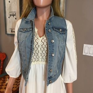 Button front rhinestone detail denim vest